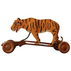 1950s Wooden Pull Toy Tiger