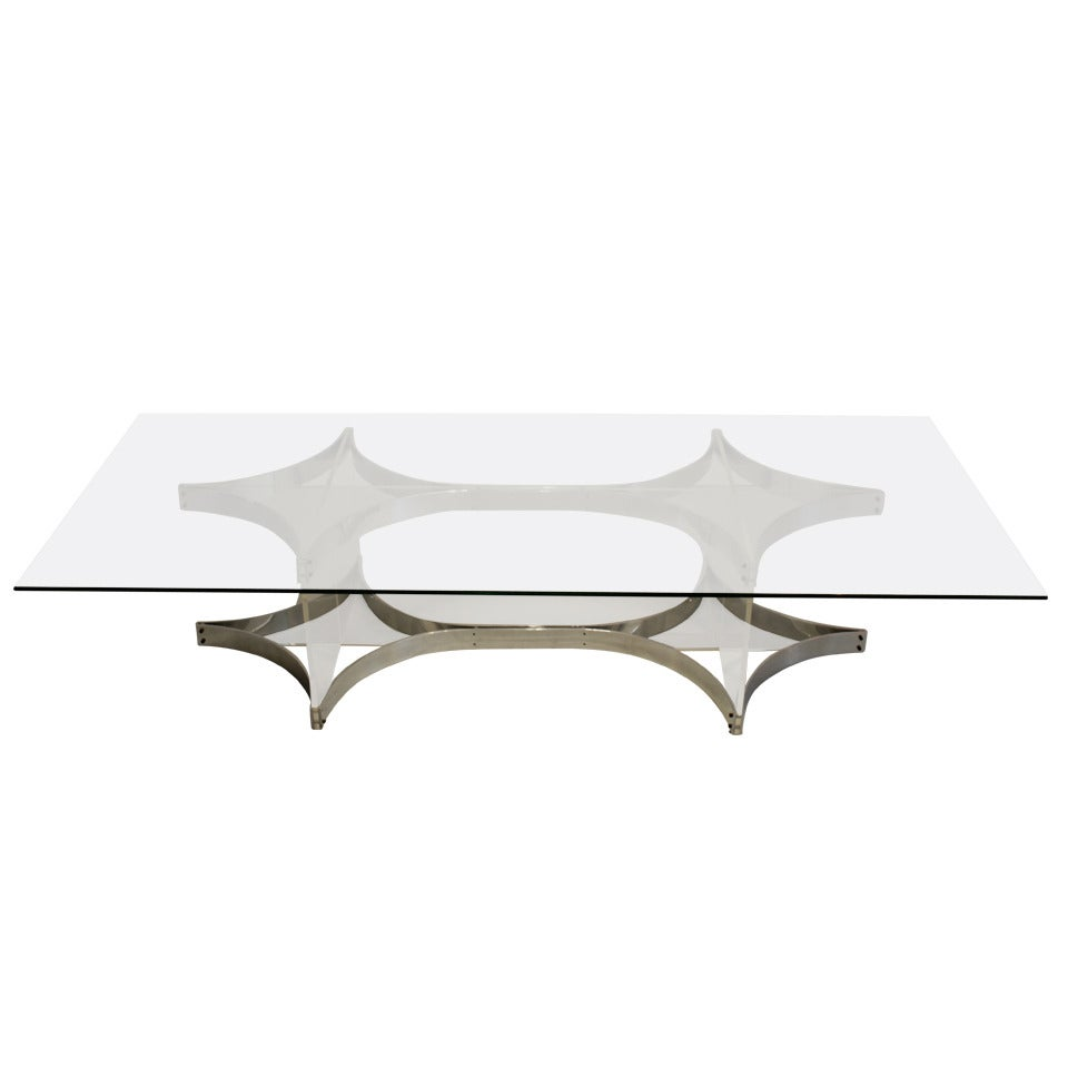 Alessandro Albrizzi Lucite, Glass and Chrome Coffee Table