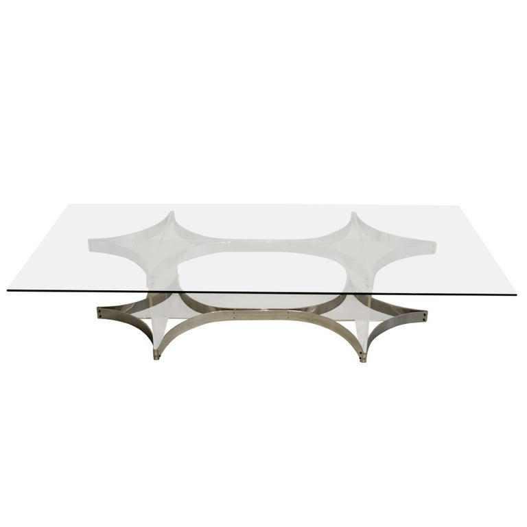 Alessandro Albrizzi Lucite, Glass and Chrome Coffee Table For Sale