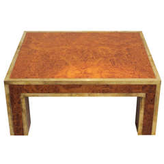 1970's Burl Wood and Brass Side Table