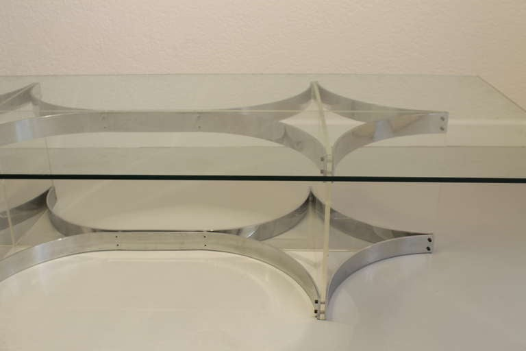 Italian Alessandro Albrizzi Lucite, Glass and Chrome Coffee Table For Sale