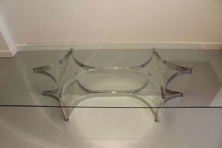 Alessandro Albrizzi Lucite, Glass and Chrome Coffee Table In Excellent Condition For Sale In Geneva, CH