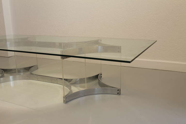Late 20th Century Alessandro Albrizzi Lucite, Glass and Chrome Coffee Table For Sale