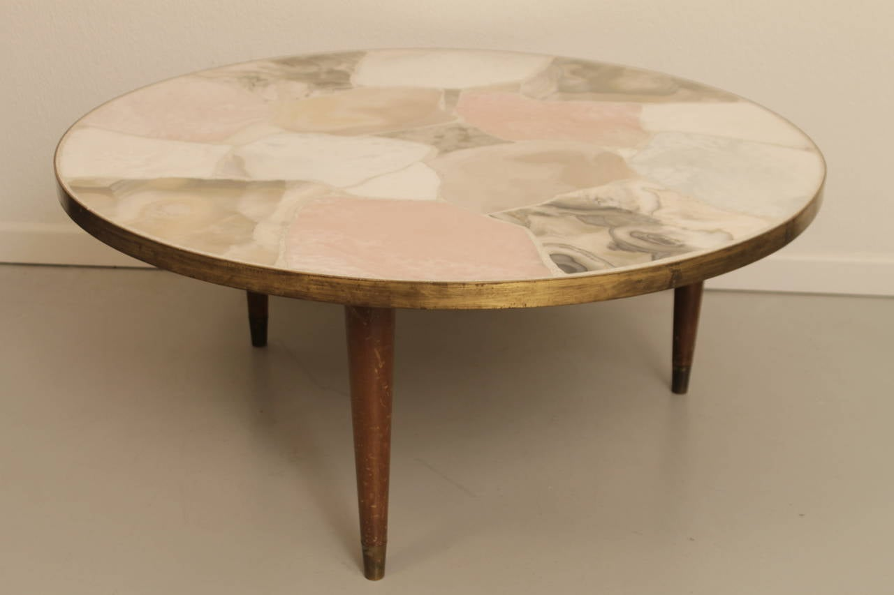 Vintage Specimen Tripod Marble Coffee Table Inlaid With Various Colored  Italian Marbles Within A Patinated Brass