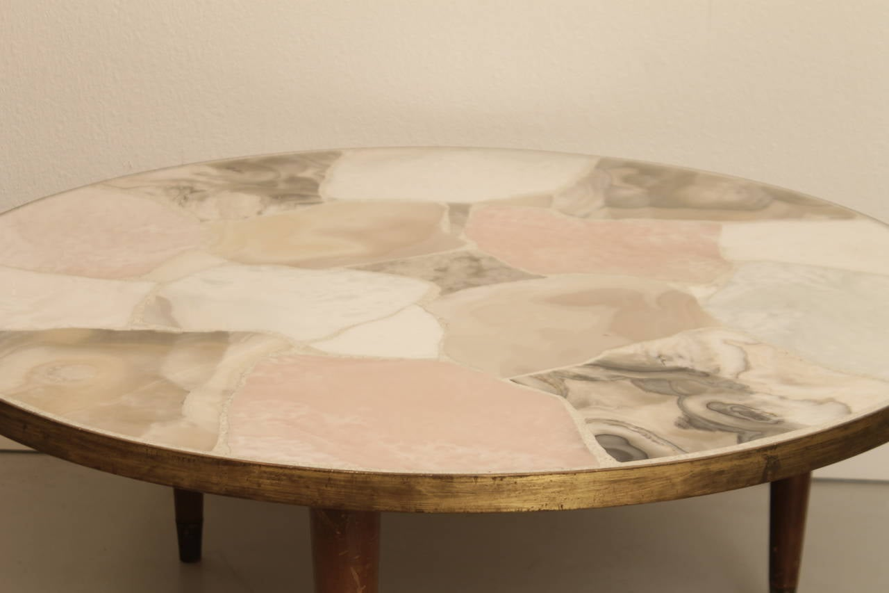 Italian Marble Coffee Table Vintage Italian Circular Brass And Marble Coffee Table At 1stdibs