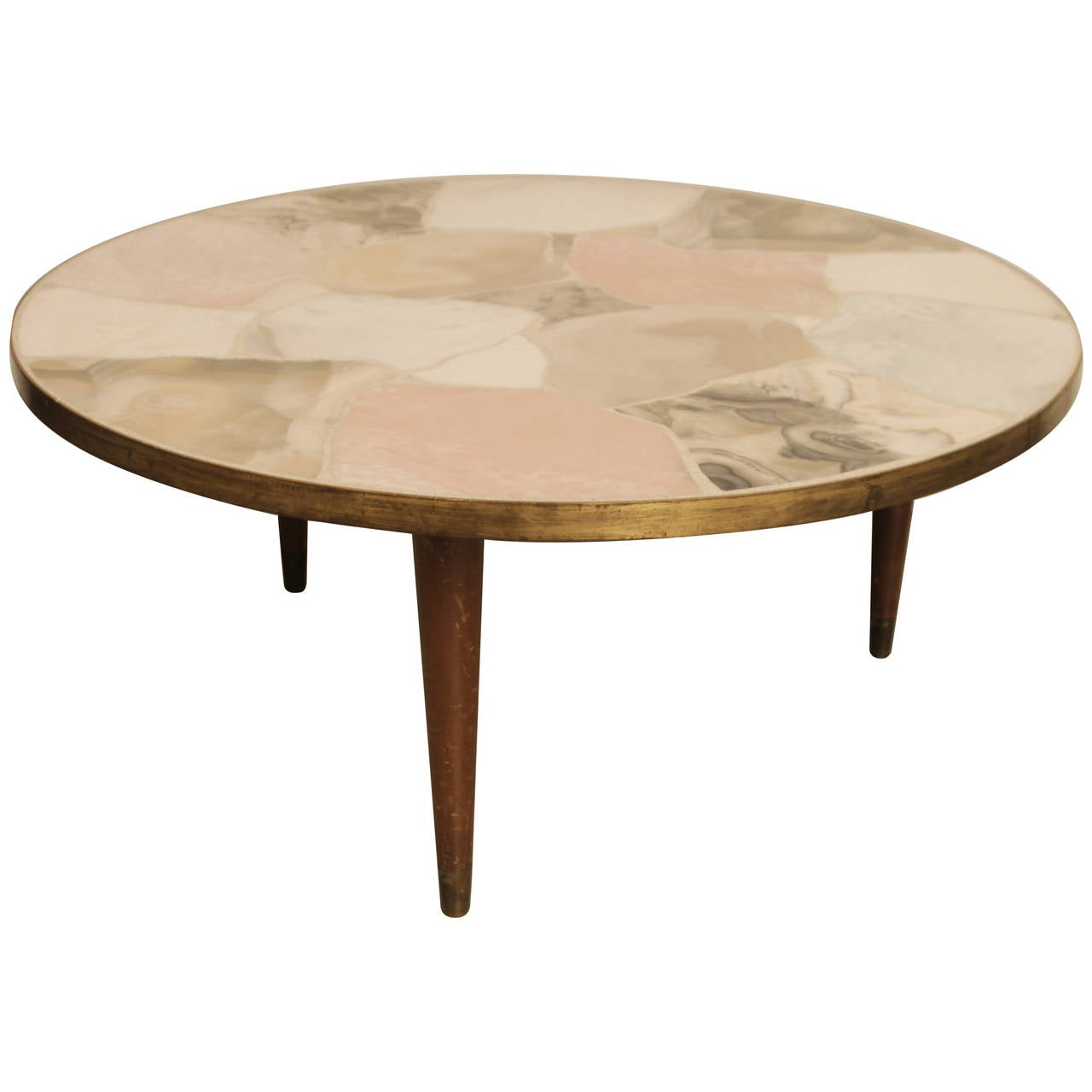 Vintage Italian Circular Brass And Marble Coffee Table At 1stdibs
