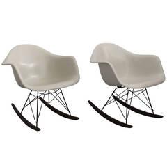 Eames Rocking Chairs in Cream White Fiberglass
