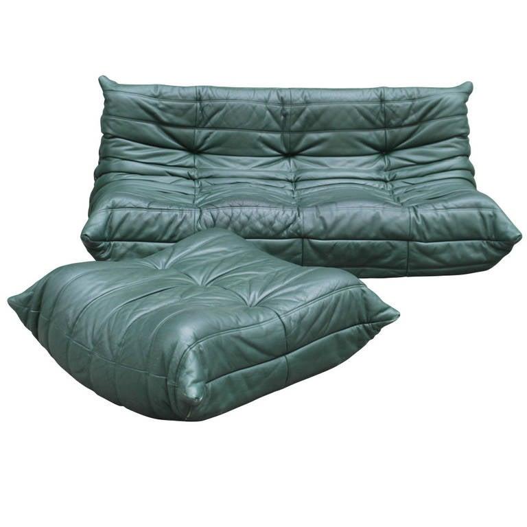 Togo ligne roset leather three seater sofa and ottoman at 1stdibs - Pouf togo ligne roset ...