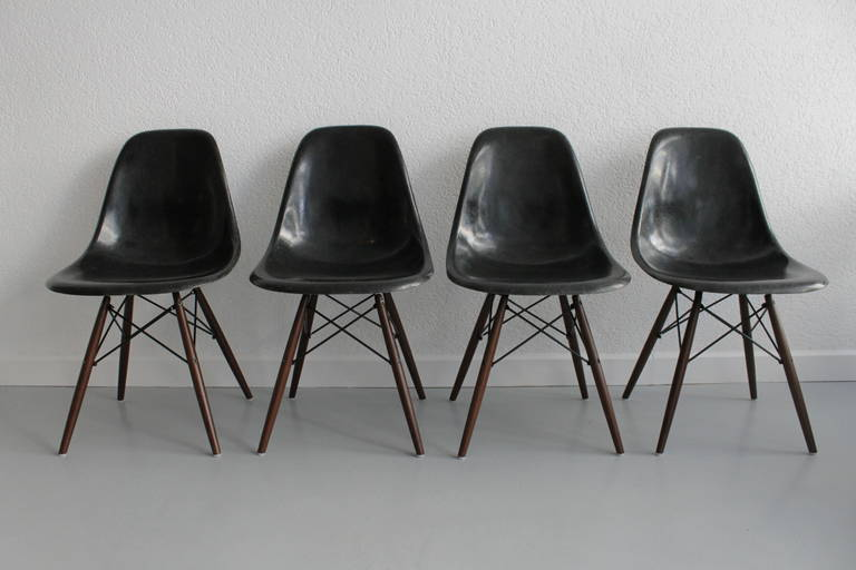 Set Of 4 Eames Dowel Black Fiberglass Side Chairs Recent Walnut Base 10  Available, More