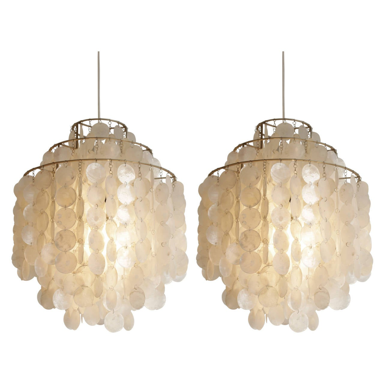 pair of verner panton fun 1 dm shell pendant lamps at 1stdibs. Black Bedroom Furniture Sets. Home Design Ideas