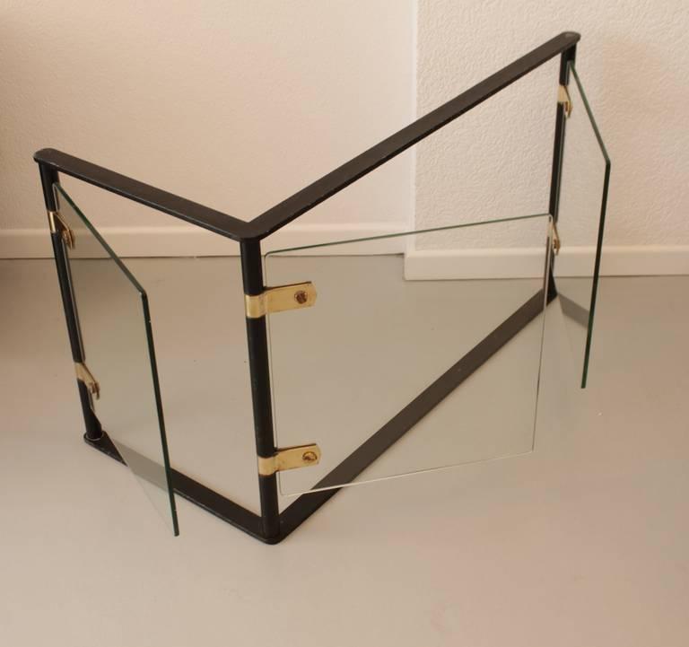 Iron Brass And Glass Corner Fire Screen At 1stdibs