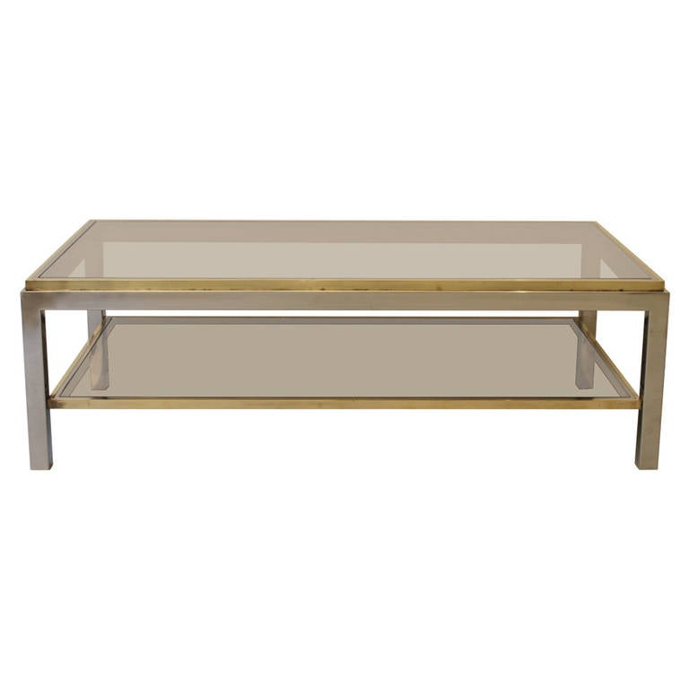 Willy Rizzo Flaminia Brass And Chrome Coffee Table For Sale At 1stdibs