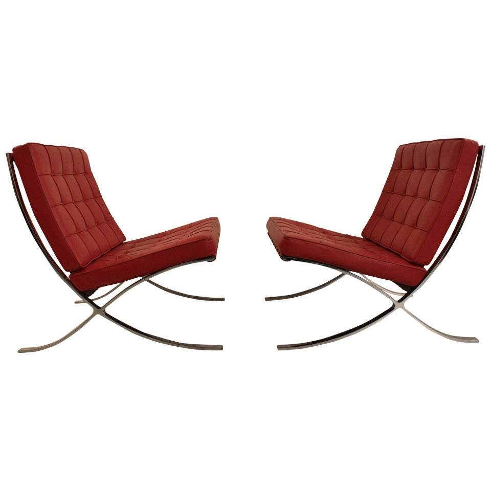 pair of barcelona chair by mies van der rohe at 1stdibs. Black Bedroom Furniture Sets. Home Design Ideas