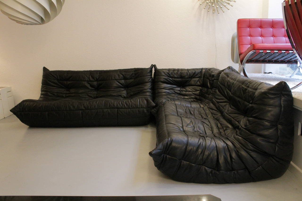 togo ligne roset black leather sofa 3