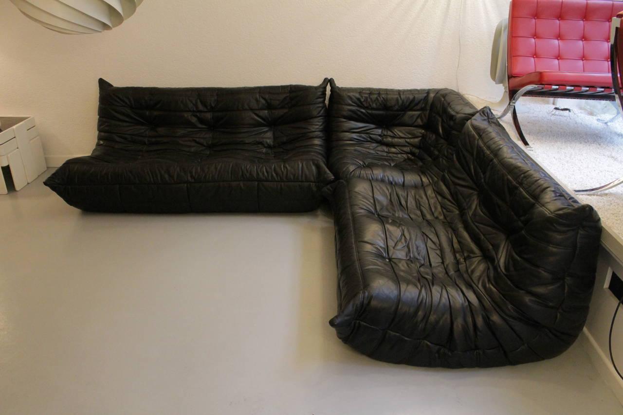 Togo Ligne Roset Black Leather Sofa At 1stdibs