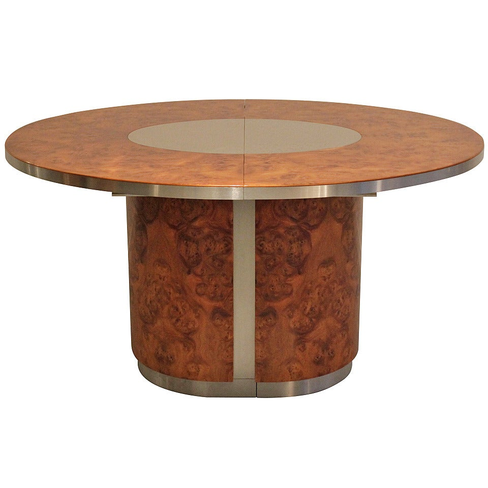 1970 39 S Burl Wood And Steel Oval Dining Table At 1stdibs
