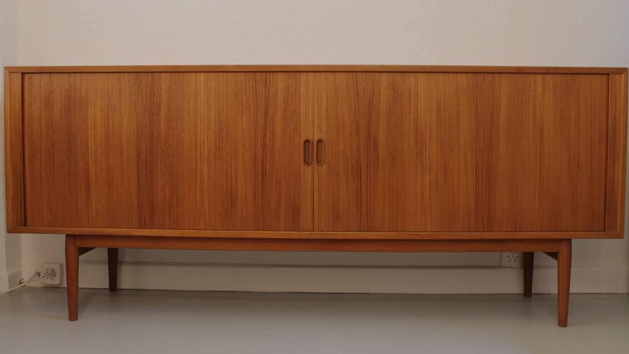 arne vodder teak tambour doors sideboard at 1stdibs. Black Bedroom Furniture Sets. Home Design Ideas