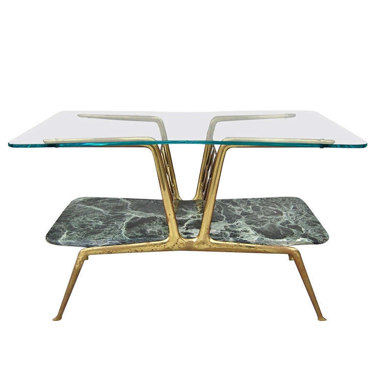 Gio Ponti Style Glass And Marble Bilevel Coffee Table Italy 1950s At 1stdibs