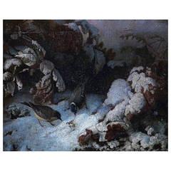 UNIDENTIFIED FRENCH ARTIST, 19 c. Winter landscape with birds