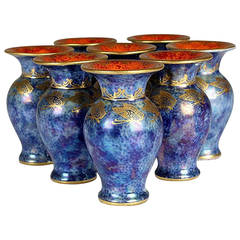Rosenthal, Eight Vases, Blue with Golden Insects and Red Interior