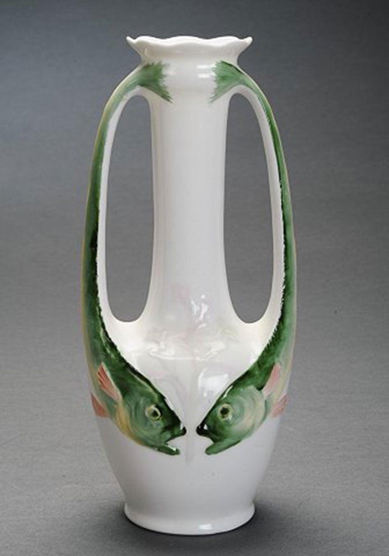 Art nouveau porcelain vase decorated with two handles in the shape art nouveau porcelain vase decorated with two handles in the shape of fish stamped rorstrand reviewsmspy