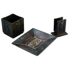 Three Pieces, Bronze, 1930s, Art Deco, Gab Bronze