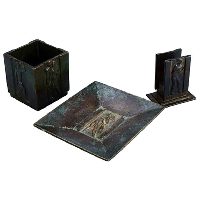 Three Pieces, Bronze, 1930s, Art Deco, Gab Bronze For Sale