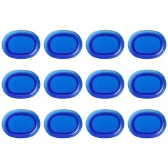 Set of 12 Josef Frank Blue, Green or Clear Seafood or Lobster Plates