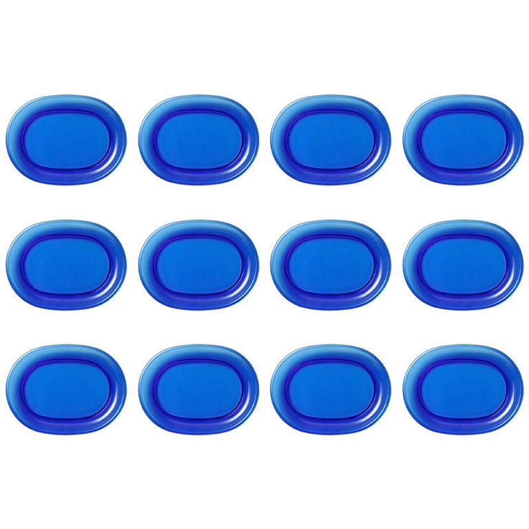 Set of 12 Josef Frank Blue, Green or Clear Seafood or Lobster Plates For Sale