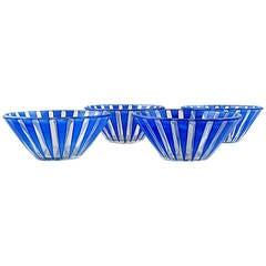 """Three Blue Glass Bowls, """"Strikt"""" by Bengt Orup for Johansfors, 1950s"""
