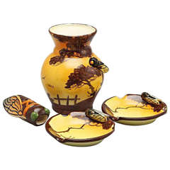 Massier Vallauris, Vase, Two Ashtrays and a Holder Formed as an Insect