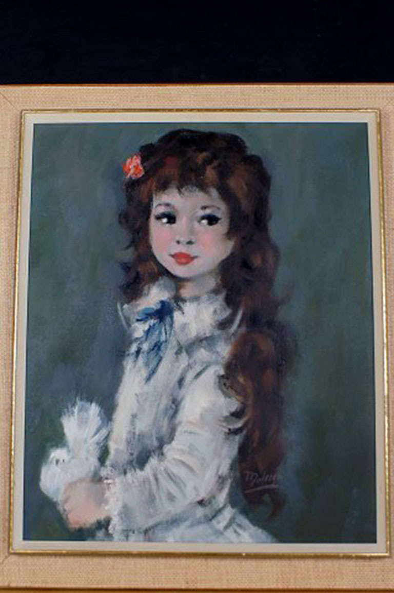 Oil painting on canvas. Portrait of a girl with long hair. Signed: Maletter, Dutch artist, circa 1960. Condition: Good. Size without frame: 61 cm. x 49 cm. The frame is in good condition. 8 cm. wide.