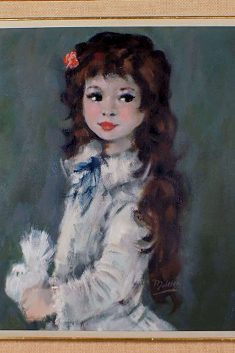 Dutch Oil Painting on Canvas, Portrait of a Girl with Long Hair For Sale