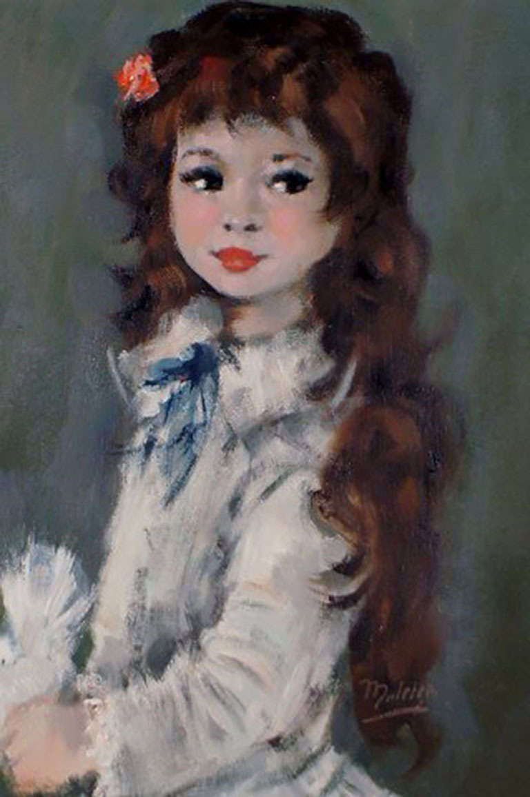 Oil Painting on Canvas, Portrait of a Girl with Long Hair In Good Condition For Sale In Copenhagen, Denmark