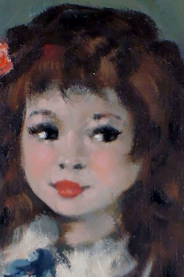 Mid-20th Century Oil Painting on Canvas, Portrait of a Girl with Long Hair For Sale