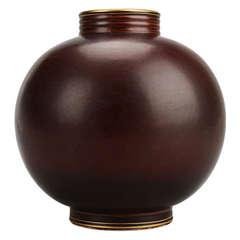 Rorstrand Pottery Vase in Burgundy with Gold Rim