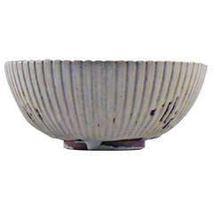 Arne Bang Ceramic Bowl, Marked AB 123, Beautiful Glaze in Sandstone Nuances
