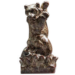 Royal Copenhagen, Knud Kyhn Figurine in Stoneware of Bear and Attacking Snake