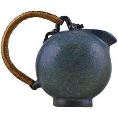 Arne Bang Stoneware Jug Decorated with Blue, Green and Brown Glaze