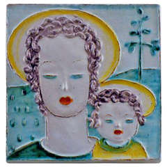 Goldschneider Vienna Art Deco Plaque of Earthenware Woman and Child, circa 1930