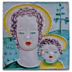 Goldschneider Vienna Art Deco Plaque of Earthenware Woman and Child, circa 1930