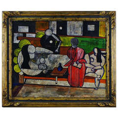 Oil on board. Cubist interior with persons, app. 1920s.