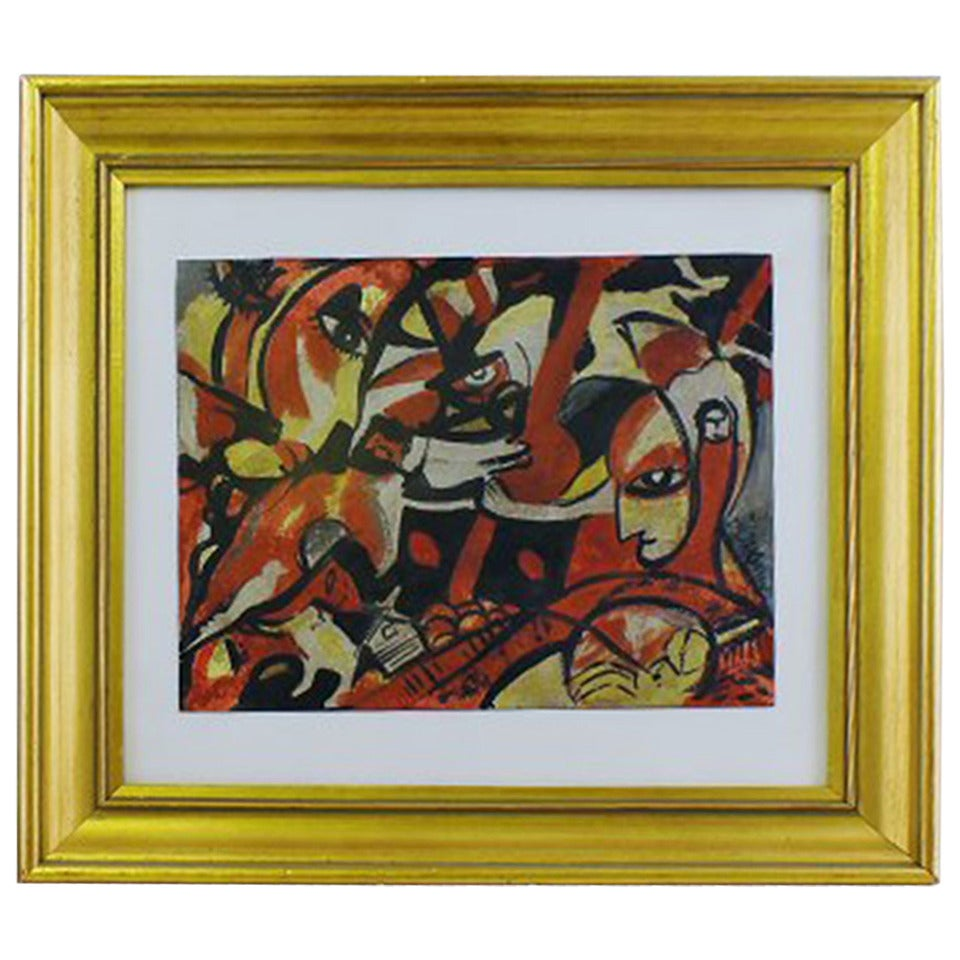 Oil on paper, abstract composition approx. 1920s. Signed illegible.