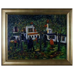 Presumably French painter, 20th century: Park Scene with strolling people.