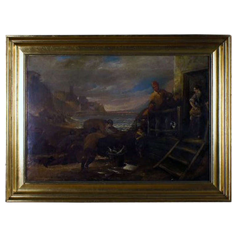 Unknown english artist 1800s oil on canvas indistinctly for Oil art for sale