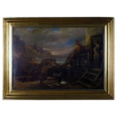 Unknown English artist, 1800s. Oil on canvas. Indistinctly signed.
