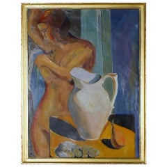 Oil on board, portrait of naked woman, unsigned, unknown artist. Appr. 1930.