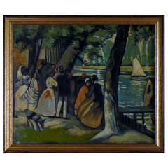 Oil on board. 20 C. Persons in landscape. Unknown artist, unsigned.