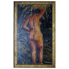 Oil on board, portrait of nude woman, indistinctly signed, unknown artist. 1920.