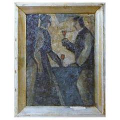 Oil on Board, Couple in Interior, circa 1930s, Unknown Artist, Unsigned
